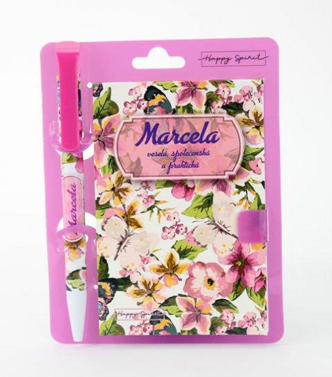 neuveden: Magnetický bloček s propiskou MARCELA