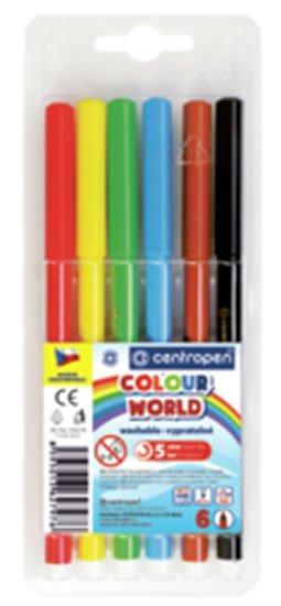 neuveden: Centropen Fixy COLOUR WORLD 7550 trojboké, sada 6 barev