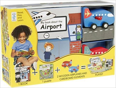 neuveden: My Little Book about Airplanes(Book, Wooden Toy & 16-piece Puzzle)
