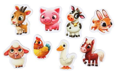 neuveden: Domácí zvířátka: naučné puzzle 8 zvířátek: 16 dílků