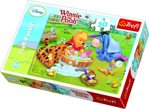 neuveden: Puzzle: Medvídek Pú - Koupel Prasátka / 30 dílků