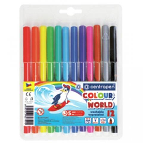 neuveden: Centropen Fixy COLOUR WORLD 7550 trojboké, sada 12 barev