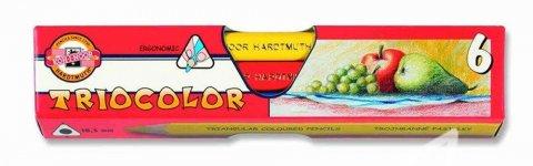neuveden: Koh-i-noor pastelky TRIOCOLOR trojhranné silné souprava 6 ks v papírové kra