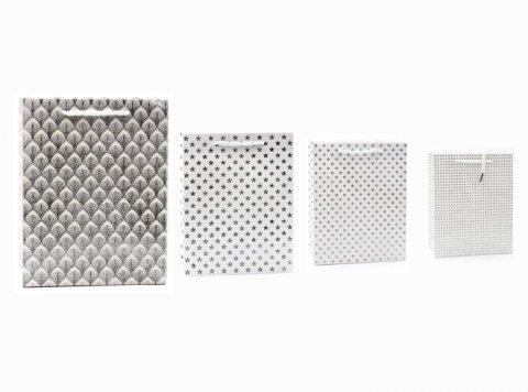 neuveden: Dárková taška - Stříbrno bílá s glitrem/32x26x12 (mix)