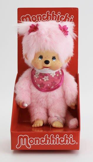 neuveden: Monchhichi 20cm - růžová holka s kvítky (Mončiči)