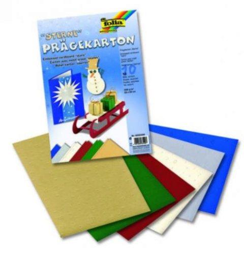 neuveden: Folia Blok Designových papírů s motivem - Vytlačované hvězdy 10 listů
