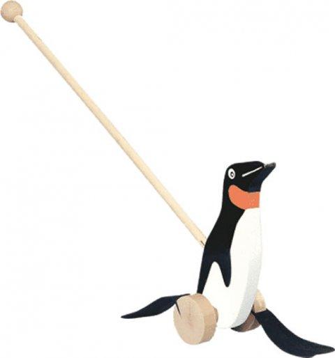 neuveden: Dřevěná tahací hračka: Tučňák na tyči/černobílý