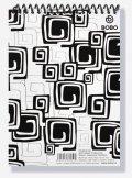 neuveden: Blok BLACK & WHITE s horní plastovou spirálou A5, linka, 50 listů