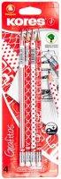 neuveden: Kores Trojhranná tužka Červeno/bílá edice č. 2 = HB s gumou 4 ks