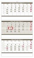 neuveden: Kalendář nástěnný 2022 - Tříměsíční skládaný šedý
