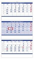 neuveden: Kalendář nástěnný 2022 - Tříměsíční skládaný modrý