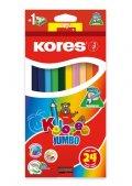 neuveden: Kores Jumbo trojhranné pastelky 5 mm s ořezávátkem 24 barev