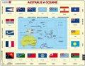 neuveden: Puzzle MAXI - Mapa Austrálie a Oceánie + vlajky/35 dílků