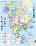 neuveden: Puzzle MAXI - Mapa Severní Ameriky + vlajky/85 dílků