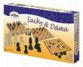 neuveden: Šachy a dáma - společenská hra / dřevěné figurky a kameny v krabici